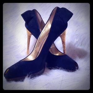 DSquared navy and gold suede stiletto heels